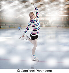 young beautiful woman ice skating - cute and blond girl with...