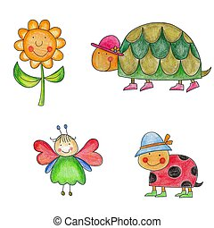 Artwork. Set of cartoon characters - Colorful illustration...