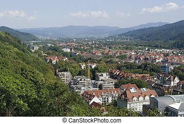 Freiburg im Breisgau at summer time - aerial view of...