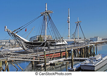USS Constitution anchoring in Boston - sailing ship named...