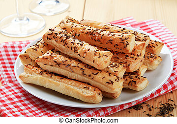 Crispy snacks  - Puff Pastry Straws with Caraway Seeds