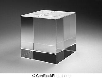 solid glass cube - studio photography of a solid glass cube...