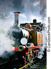 Stepney smoking and steaming at the Bluebell Railway...