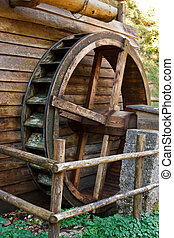 Historic water mill wheel, Austria