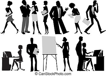 Office workers silhouettes