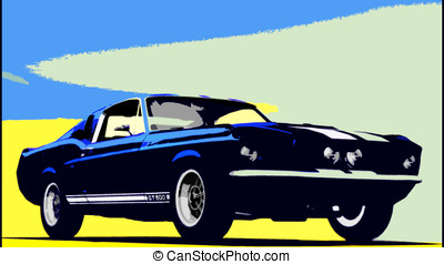 1968 Shelby GT 500 - Pop art style illustration of 1968 Ford...