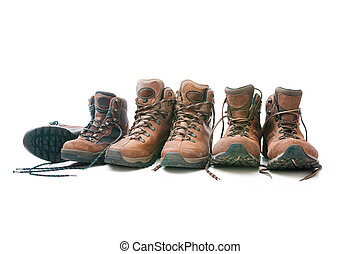hiking boots - Three pairs of hiking boots Concept for...