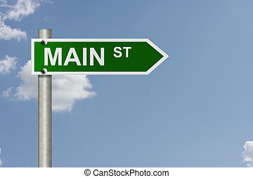 Main Street - An American road sign with sky background and...