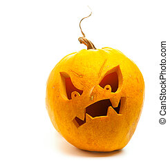 Halloween pumpkin isolated on white background - banner...