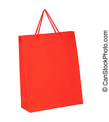 Red shopping paper bag isolated on white background