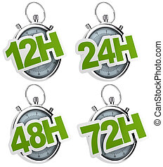 12H, 24H, 48H, 72H sticker over a gray stopwatch, image...