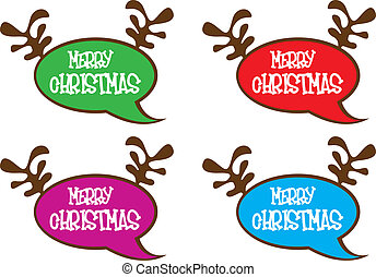 thought bubbles with reindeer horns isolated, white...