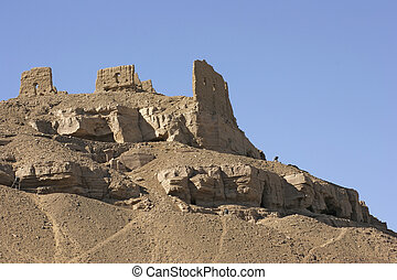 rock cut tombs near Aswan in Egypt