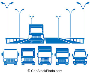 blue road and set of trucks