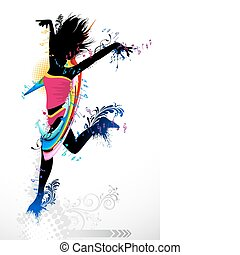 Grungy Dancer - illustration of femal dancer with grunge and...