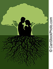 Family tree - Vector illustration of a family, rooted tree...