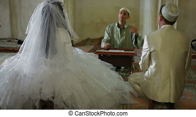 Nikah of Crimean Tatars in Mosque - Imam (islamic priest)...