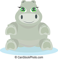 Baby hippo illustration - Cute baby hippo illustration