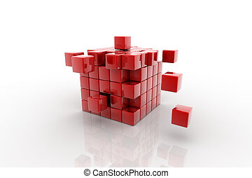 cube assembling from blocks - abstract 3d illustration of...
