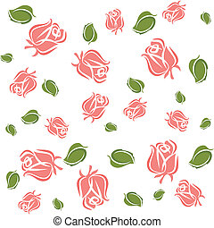 Wallpaper roses and leaves