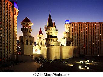 castillo, casino, Las, Vegas, noche