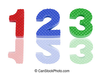 1 2 3 numbers in foam - Educational toy: Fun colorful 1 2 3...