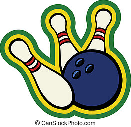 Bowling ball with pins - Bowling ball hitting a couple of...
