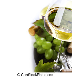 glass of wine and  grape over white