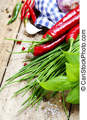 Fresh vegetables - Garlic, basil, chives and chili peppers...