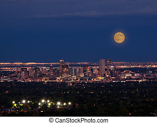 Mile High City of Denver by night - A view of downtown...