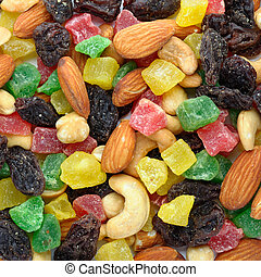 Toasted nuts and candied fruit background