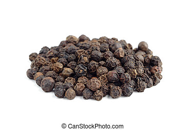 Pile of black pepper isolated on white background