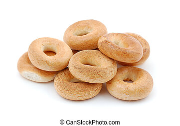 Pile of bagels isolated on white background