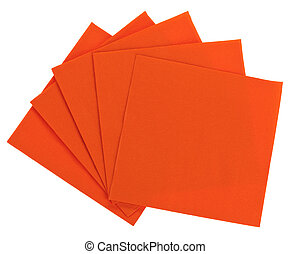 Orange square paper serviette (tissue), isolated on white