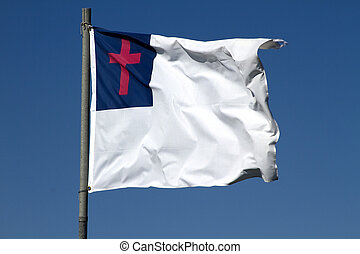Christian Flag - White flag with red cross flying on windy...