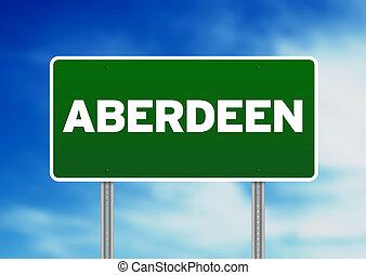 Green Road Sign - Aberdeen, England - Green Aberdeen,...