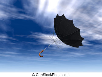 Umbrella Flying though the air - Black umbrella blow inside...