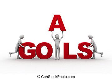 3d human goal success purple high business