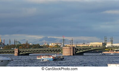 Palace Bridge and water transport, Saint Petersburg, Russia