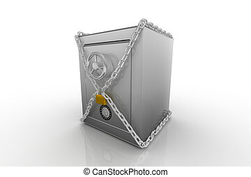 Safe clad in steel chain - Safe clad in steel chain with a...