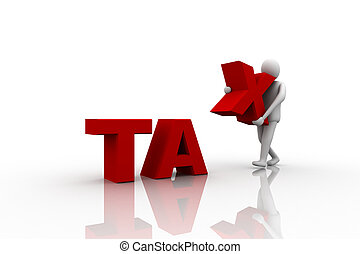 Taxpayer ruined bankrupt by high taxes sits in the word TAX