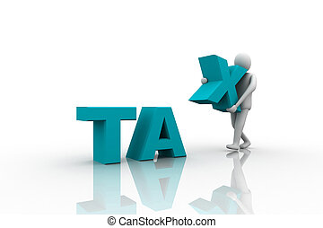 Taxpayer ruined bankrupt by high taxes sits in the word TAX...