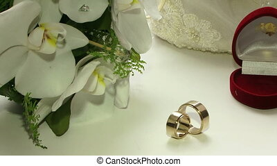 Wedding rings for the ceremony - Two wedding rings are on...