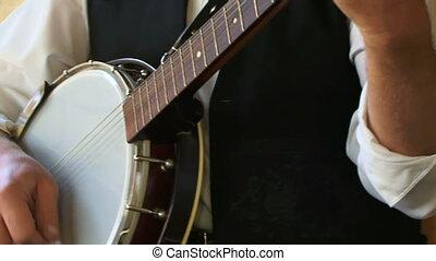 Musician plays the balalaika