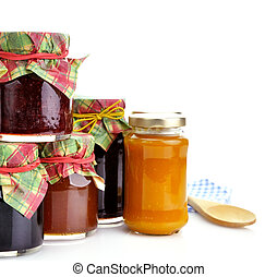 jam in the jars - assortment of homemade jam in the glass...