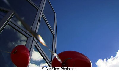 Heart of the reflection - Beautiful blue sky and a balloon...