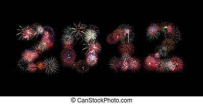 The year 2012 written in fireworks - Multiple bursts of...
