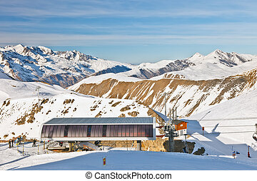 Funicular station in French Alps - Funicular station, ski...