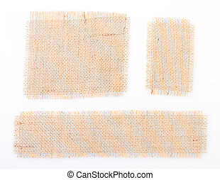 sackcloth set tags over white. burlap.