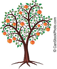 apple tree - vector design of apple tree with fruits